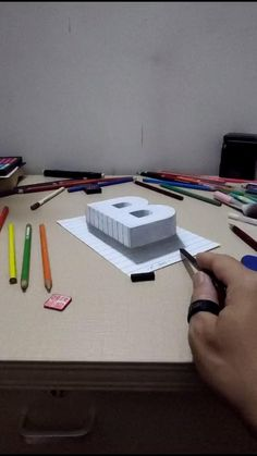 3d Pencil Drawings, 3d Art Drawing, Art Drawings Sketches Simple, Easy Drawings, Object Drawing, Drawing Ideas, Rendering Drawing, House Drawing, Illusion Kunst