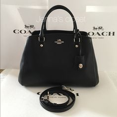 ⚜Coach⚜Signature Small Margo Caryall Brand New with tag Coach Signature Small Margo Caryall Crossbody Shoulder Bag  Original: $395 Now only $185  Color: black with gold hardware Size: small Dimensions: 12 x 8.5 x 6 Features 3 slip pockets and one zippered pocket divider.   Comes with adjustable/removable cross-body strap  ~All handbags come from a clean, smoke free, pet free home. All are packed with care and shipped on the same day or next day~ Coach Bags Satchels