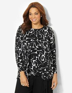 Unique duet top adds vibrance to your everyday outfits. Allover abstract print shines with subtle, iridescent sequins on the stretch fabric. Long-sleeve jacket layers over top of a cozy tank and features festive beads dangling from the hem. A single button closes the neck. Complete with comfortable shoulder pads. Catherines tops are designed for the plus size woman to guarantee a flattering fit. catherines.com