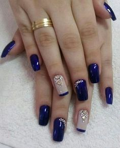 25 Most Favorite Square Nail Designs for Teenager - Saggno Square Nail Designs, Toe Nail Designs, Acrylic Nail Designs, Acrylic Nails, Nails Design, Blue And Silver Nails, Blue Nails, Black Glitter, Stylish Nails