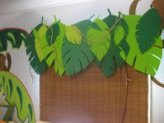 themed jungle leaf classroom curtains | I love these leaves!
