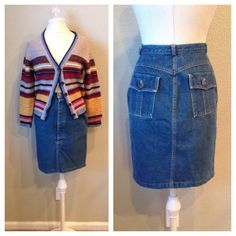 A personal favorite from my Etsy shop https://www.etsy.com/listing/244154328/vintage-90s-norma-kamali-denim-skirt