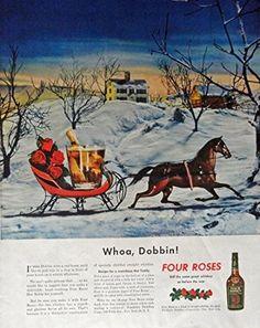 Four Roses Whiskey  40 s Print Ad  Color Illustration  Whoa  Dobbin  Collier s Magazine Print Art