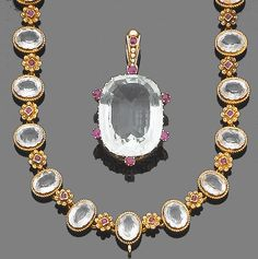 A gem-set necklace, pendant and a pair of earrings  1st: The necklace, circa 1900, designed as a uniform row of collet-set oval mixed-cut aquamarines, each within a ropetwist surround, interspersed with cushion-shaped rubies, within cannetille surrounds, 2nd: The pendant designed as a cushion-shaped fancy-cut aquamarine, suspended from a textured hoop, all highlighted with cushion-shaped rubies, 3rd: Each earring designed as an oval aquamarine drop, suspended from a seed pearl surmount