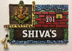 IN Beautify the entrance of your house with this beautiful Spiritual Lord Ganesha Name Plate only on HITCHKI.IN   Wooden Name Plates, Door Name Plates, Name Plates For Home, Personalized Name Plates, Wooden Names, Plates On Wall, Clay Wall Art, Mural Wall Art, Clay Art