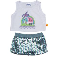 Turquoise Sequin Skirt Outfit 2 pc. - Build-A-Bear Workshop US