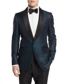 "Tom Ford ""Buckley"" base tuxedo jacket in mesh-print. Lean silhouette; narrow shoulders for sartorial look. Contrast, pic-stitched shawl lapel; satin-covered one-button front. Front besom pockets with"