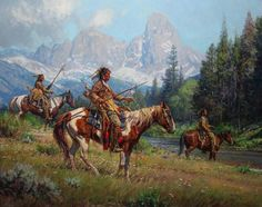 MARTIN GRELLE BLACKFEET SCOUTING PIERRE'S HOLE oil on linen 38 x 48 in (96.52h x 121.92w cm) at Trailside Galleries www.trailsidegalleries.com