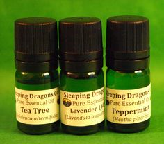 3 Pure Essential Oils Set 5mLs Lavender, Tea Tree, Peppermint, First Aid, Pests…