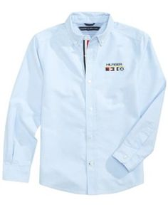 Tommy Hilfiger Solid Cotton Oxford Shirt, Toddler Boys (2T-5T) - Blue 2T