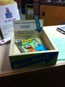 """Check out the Awesome Box at the Sommerville Public Library! When a patron particularly enjoys an item, he or she will return the book into the """"Awesome Box."""" Then, a library staff member will scan the book twice – once, checking the book in as usual, then another time to list that item on the """"awesome"""" page. What a truly awesome idea!"""