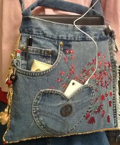 Upcycled Recycled Denim Bag by GretasGarb on Etsy, $750.00