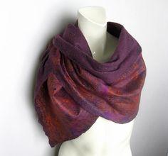 Felted Scarf Cobweb Wool Silk Purple Eggplant Rust by avivaschwarz, $115.00