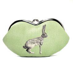 Eyeglasses case purse clutch/ Rabbit on Mint by ElevenRoosters, $30.00