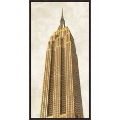 """Global Gallery 'Gilded Skyscraper II' by Joannoo Framed Graphic Art on Canvas Size: 24"""" H x 12"""" W x 1.5"""" D"""