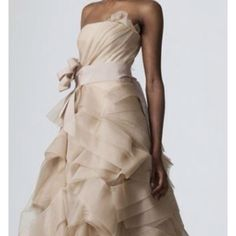 Champagne-colored wedding gown from Vera Wang Vera Wang Bridal, Vera Wang Wedding, Used Wedding Dresses, Wedding Dress Styles, Bridesmaid Dresses, Prom Dresses, Dresses 2016, Bridesmaids, Formal Dresses