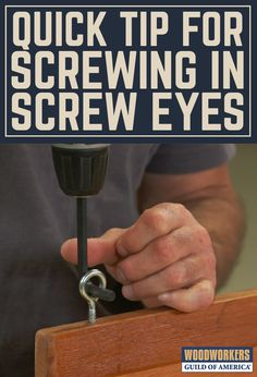 How many times have you done this? Predrill a hole, grab a screw eye, put a screwdriver through the eye, and start tediously driving the screw eye in? Putting in one tiny screw eye? That's not a bad solution. Driving large screw eyes, like you'd use on a swing set, or driving lots of screw eyes, and this process gets real old, real fast. Wouldn't it be great if you could power drive screw eyes the way you power drive screws?