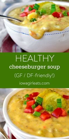 Cheeseburger Soup - Gluten-Free, Dairy-Free-Friendly Healthy Cheeseburger Soup is full of healthy (sneaky!) vegetables yet heavy on decadent flavor. This comforting soup recipe is gluten-free and easily made dairy-free, too. Cheese Burger Soup Recipes, Healthy Soup Recipes, Gourmet Recipes, Cooking Recipes, What's Cooking, Recipes Dinner, Potato Recipes, Lunch Recipes, Fall Recipes