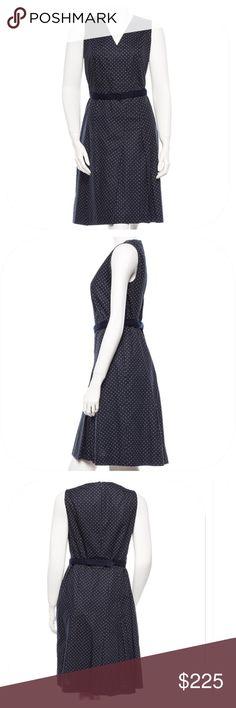 "AKRIS PUNTO BLUE & WHITE POLKA DOT MIDI DRESS PRODUCT DETAILS: Dark slate blue and white Akris Punto sleeveless polka dot print midi dress with V-neckline, pleated skirt, waist belt and back concealed zip closure. Size: 10. In EUC. 100% Cotton; Lining: 100% Viscose. Measurements: Bust 37"", Waist 33"", Hip 41"", Length 38.5"" Akris Dresses"