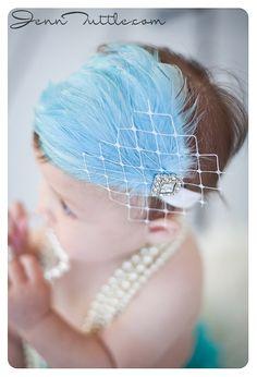 Baby Headbands..Newborn Headbands..Baby Girls Headbands..Feather Headband..Tiffany Blue..Feather fascinator..Flapper headbands
