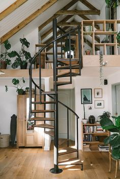my scandinavian home: Before And After: A Drab Cape Town Interior Becomes A Warm And Cosy Cottage - spiral staircase in open plan living space design Interior Design Minimalist, Home Interior Design, Interior And Exterior, Modern Interior, Cosy Interior, Interior Designing, Luxury Interior, Kitchen Interior, Architecture Renovation