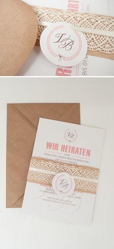 Hochzeitseinladung im Vintage-Stil, Kraftpapier, Spitze, Hangtag, Recyclingpapier