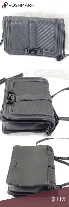 "All Black Rebecca Minkoff Small Geometric Love Like new...turnlock is a little loose but otherwise mint condition...no dustbag.  8""W x 5 ½""H x 2""D. (Interior capacity: small.)  21"" - 24"" convertible strap drop.  1.0 lbs.  Going out? Then go with this. With channel quilting and polished hardware, this signature crossbody in smooth leather is an easy match for almost any outfit and a welcome choice for the weekend.  Turnlock closure  Optional leather-and-chain strap  Exterior slip pocket…"