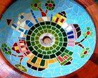 Cuba de madeira e mosaico