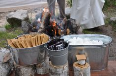 Elbow Lake Lodge Wedding, s'more station