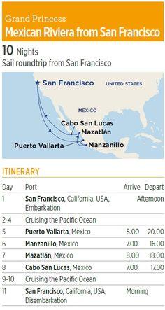 Cruise from San Francisco to Mexico. Round-trip to the Mexican Riviera including Puerto Vallarta, Manzanillo, Mazatlan and Cabo San Lucas out of SF.