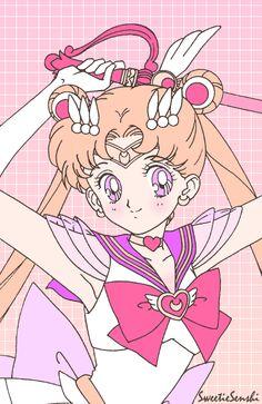 Super Sailor Moon by Sweetie Senshi - Sailor Moon fanart Sailor Moons, Sailor Moon Crystal, Arte Sailor Moon, Sailor Moon Fan Art, Sailor Uranus, Otaku Anime, Manga Anime, Sailor Moon Background, Sailor Moon Wallpaper