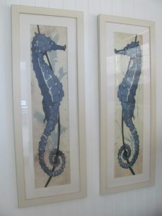Art inspo based on these WSH Seahorse prints. Coastal Homes, Coastal Living, Coastal Style, Coastal Decor, Seahorse Art, Seahorses, Beach Art, Seaside Beach, Beach Pics