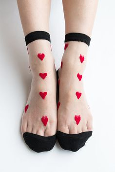 Women Brand New Hezwagarcia Must Have Lovely Love Heart Pattern Cute Sheer Mesh Nylon Cotton Socks Stocking