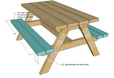 Our favorite kids picnic table! Designed to fit bigger kids, this super sturdy picnic table is big enough to sit a small adult too! Super easy to build design has been built hundreds of times already! Build photo submitted by Fethiye Toddler Picnic Table, Kids Picnic Table Plans, Build A Picnic Table, Wooden Picnic Tables, Picnic Ideas, Wood Tables, Dining Tables, Diy Kids Furniture, Outdoor Furniture Plans