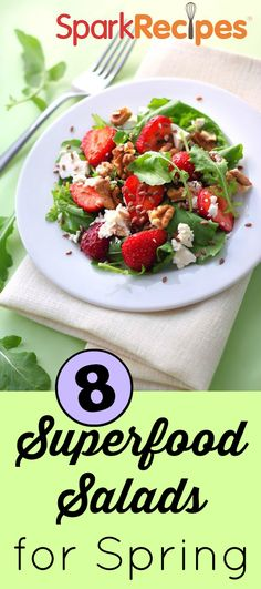 Such pretty spring salad recipes here! Love the strawberry-asparagus salad! | via @SparkPeople #salad #spring #eatbetter #healthyliving #diet
