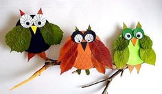 Cute owl craft made with Fall leaves