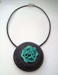 Nadege Honey, RUFFLE Black & Turquoise, Polymer Clay.