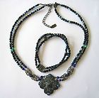 """1928"" Signed Black Green Blue AB Crystal Necklace & Bracelet FREE US SHIPPING - , , Black, blue, bracelet, Crystal, Free, Green, Necklace, Shipping, signed - http://designerjewelrygalleria.com/1928-jewelry/1928-bracelets/1928-signed-black-green-blue-ab-crystal-necklace-bracelet-free-us-shipping-3/"