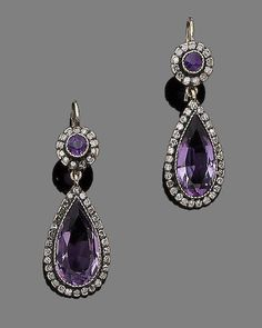 Bonhams Fine Art Auctioneers & Valuers: auctioneers of art, pictures, collectables and motor cars Amethyst Jewelry, Amethyst Earrings, Amethyst Crystal, Ear Jewelry, Jewelery, Fine Jewelry, Women Jewelry, Victorian Jewelry, Antique Jewelry
