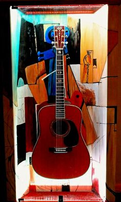 "ZAAX wall guitar display ""Guitar and Violin"" and Martin D-42"