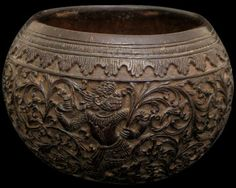 Finely Carved Coconut Bowl  Burma  19th century