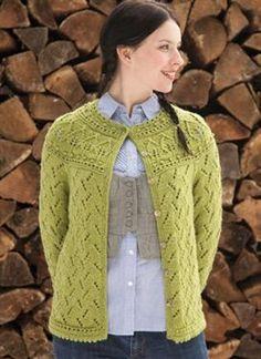 Leaf Yoke Cardigan from Knitting Daily TV Episode 402 - Media - Knitting Daily