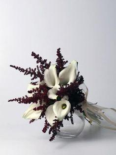 Ramos de novia con #callas crystal blush blanca y #astibe granate