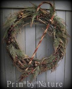 Primitive Christmas Candy Cane Wreath. Listing on eBay 10/25/2015. Please visit me @ primbynature.com