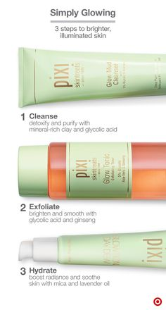 Consider these three from Pixi, your radiant-skin trifecta for an easy, get-glowing routine, even on busy mornings. Start by massaging the Glow Mud Cleanser onto your face and neck to clean deep within your pores and remove dead skin cells. Rinse. Then apply Glow Tonic to a cotton pad and sweep across your face and neck. While the tonic is still slightly damp, apply Glowtion Day Dew moisturizer for an added boost of natural hydration and radiance. Done!