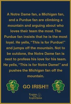 I found out I'm part Irish! Nd Football, Football Quotes, Notre Dame Football, College Football, Notre Dame Wallpaper, Noter Dame, Notre Dame Irish, Lou Holtz, Go Irish