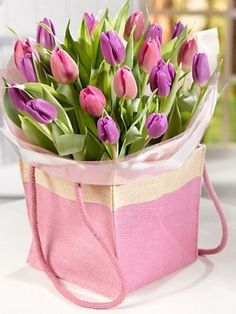 Buy the Mother's Day Tulip Gift Bag from Marks and Spencer's range. Pink Tulips, Tulips Flowers, All Flowers, Pink Roses, Beautiful Flowers, Flower Names, My Flower, Love Rose, Flower Backgrounds