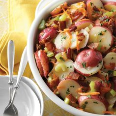 Need German potato salad recipes? Get German potato salad recipes for your next meal or gathering. Taste of Home has lots of delicious German potato salad recipes including hot and cold German potato salads, and easy German salad recipes. Potluck Recipes, Ww Recipes, Side Dish Recipes, Salad Recipes, Great Recipes, Cooking Recipes, Side Dishes, Cooking Tips, Drink Recipes