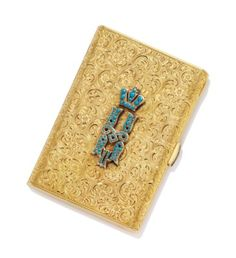 A CONTINENTAL ENAMELLED GOLD CIGARETTE CASE POSSIBLY VIENNA, CIRCA 1900, STRUCK WITH SWISS IMPORT MARK FOR 18 CARAT GOLD;  sold 2,500 GBP;  CHRISTIES 11/25/14.