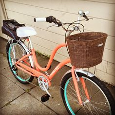 An exceptionally well-appointed Electra 7D in coral. #basket #rack #fenders…